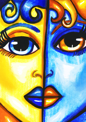 Yellow and Blue 2 faced woman